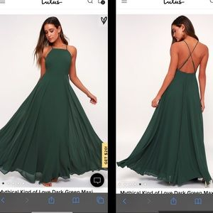 LuLus Mythical Kind of Love Dark Green Maxi